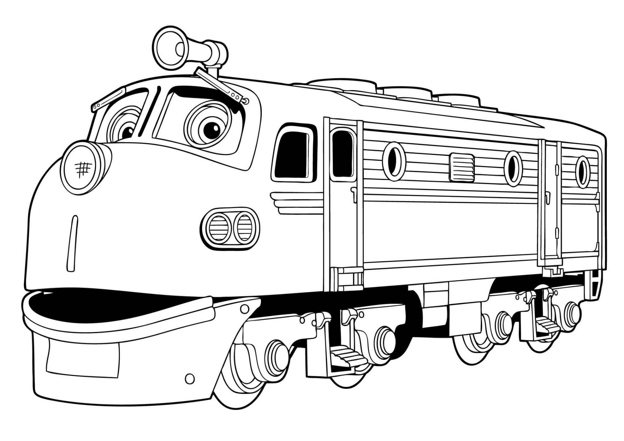 раскраска Весёлые паровозики из Чаггингтона